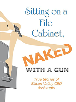 Sitting on a File Cabinet, naked with a gun